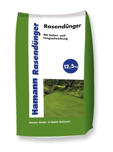 Hamann Rasendünger - Stickstoffbetonter Mehrnährstoffdünger - 12,5 kg Sack