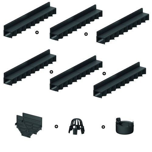 ACO 6er Schlitzrinnen Set mit Hexaline Kunstoff-Rinne schwarz inkl. Zubehörkit