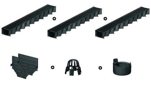 ACO HexaLine SET Entwässerungsrinne Stegrost Kunststoff 3x1m inkl. Zubehör Kit