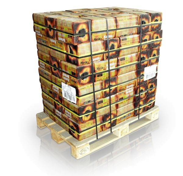 96 Bündel á 10kg Braunkohle Kaminbriketts volle Palette Heizprofi Kohle Ofen Brikett
