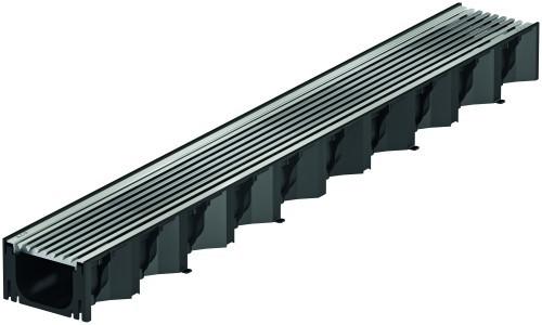 ACO Hexaline 2.0 Rinne 1 m schwarz + Längsstabrost Edelstahl 1 m