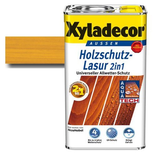 Xyladecor® Holzschutz-Lasur 2 in 1 Eiche hell 2,5 l